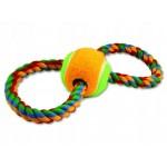 Ósemka ze sznura z piłką 25 cm zabawka dla psa