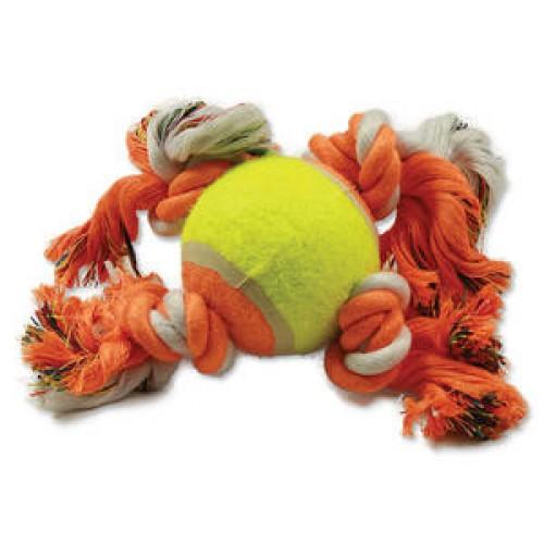 Zabawka dla psa - piłka tenisowa + 4 węzły 124-10887