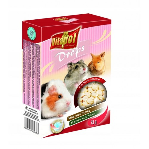 Vitapol dropsy miodowo-mleczne 75 g dla świnki morskiej, chomika, królika