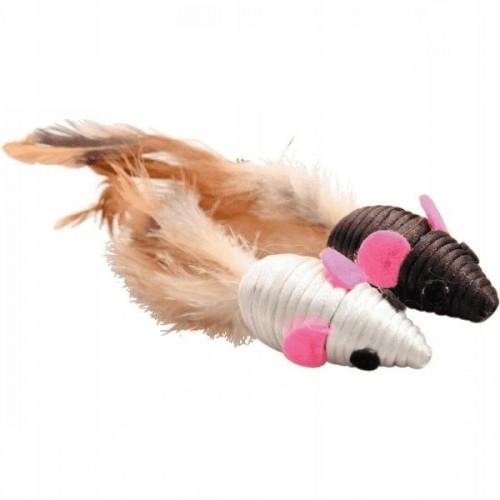 Zolux zabawka dla psa lub kota zestaw dwóch myszek z piórkiem 580 131
